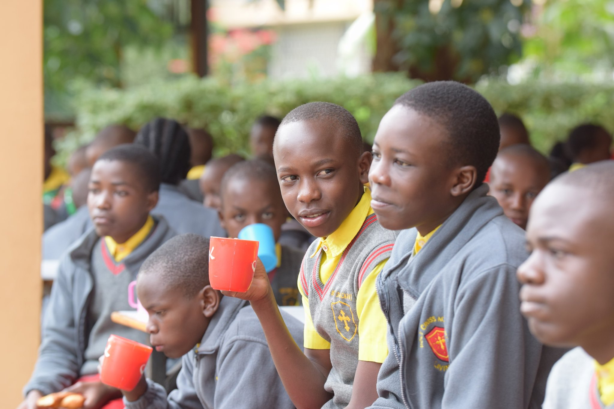 Students take a snack at Holy Cross Academy in Lavington - Kenya